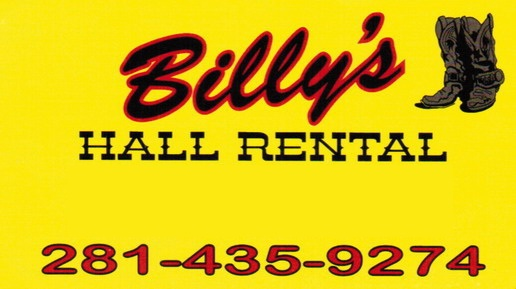 Billy's Hall Rentals-281-435-9274